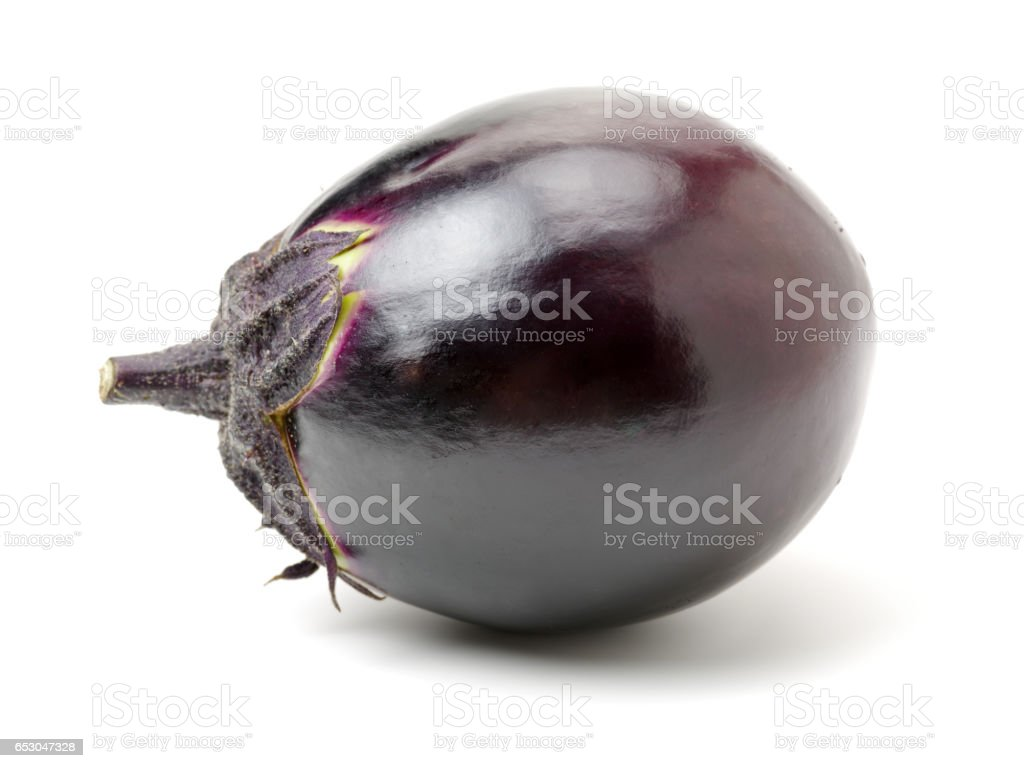 purple eggplant on a white background stock photo
