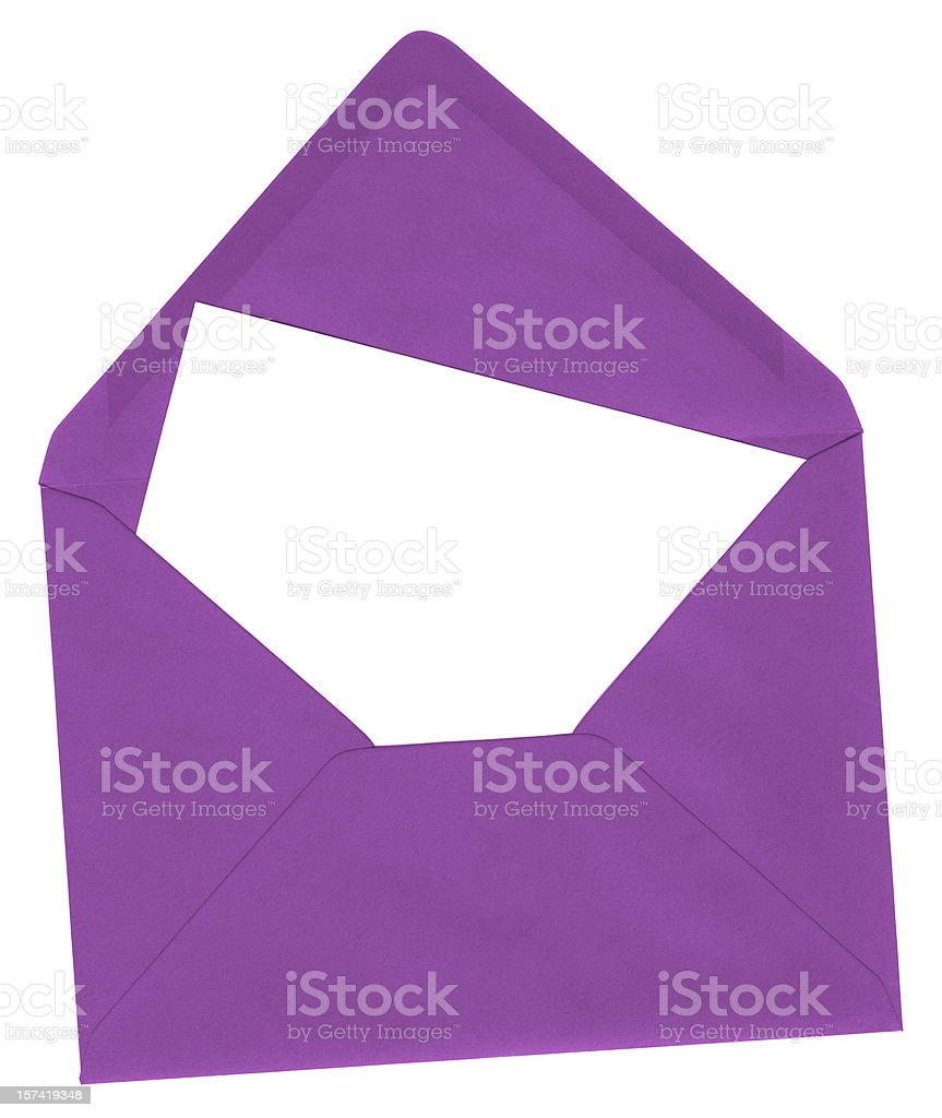 Purple envelope and blank card royalty-free stock photo