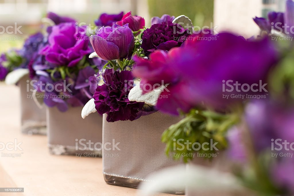 Purple Flower Centerpieces stock photo