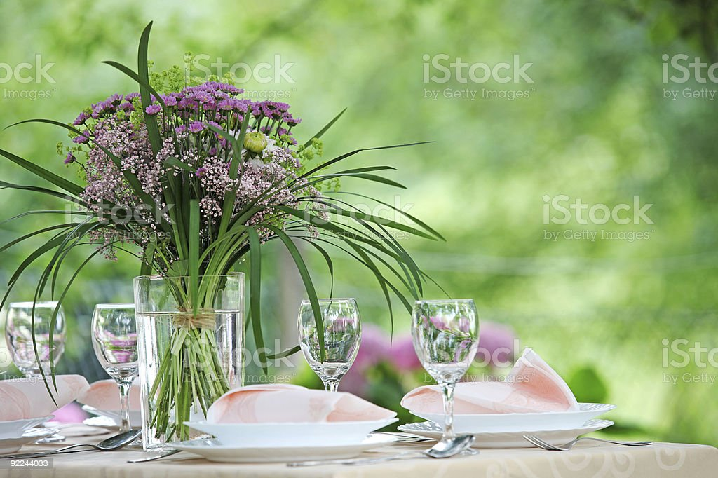 Purple flower table centerpiece stock photo