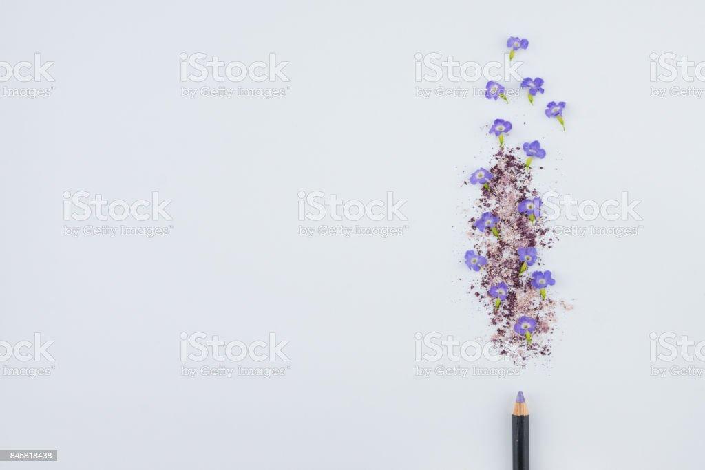 Purple flowers, Duranta erecta L.,purple glitter powder make up and eye pencil stock photo
