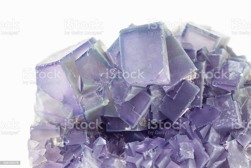 Purple fluorite crystals stock photo
