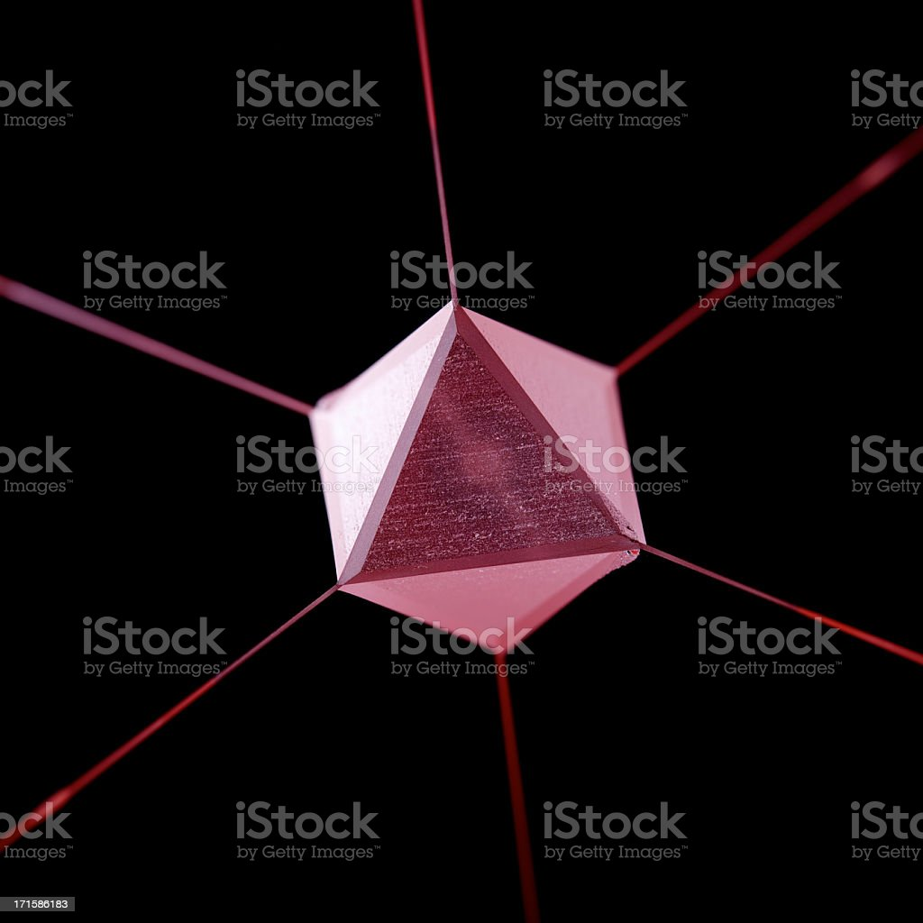 Purple Geodesy Prism with lines from each vertex stock photo