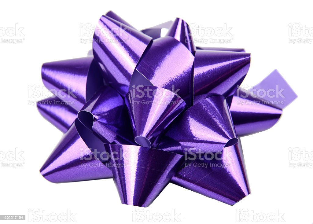 Purple Gift Bow stock photo