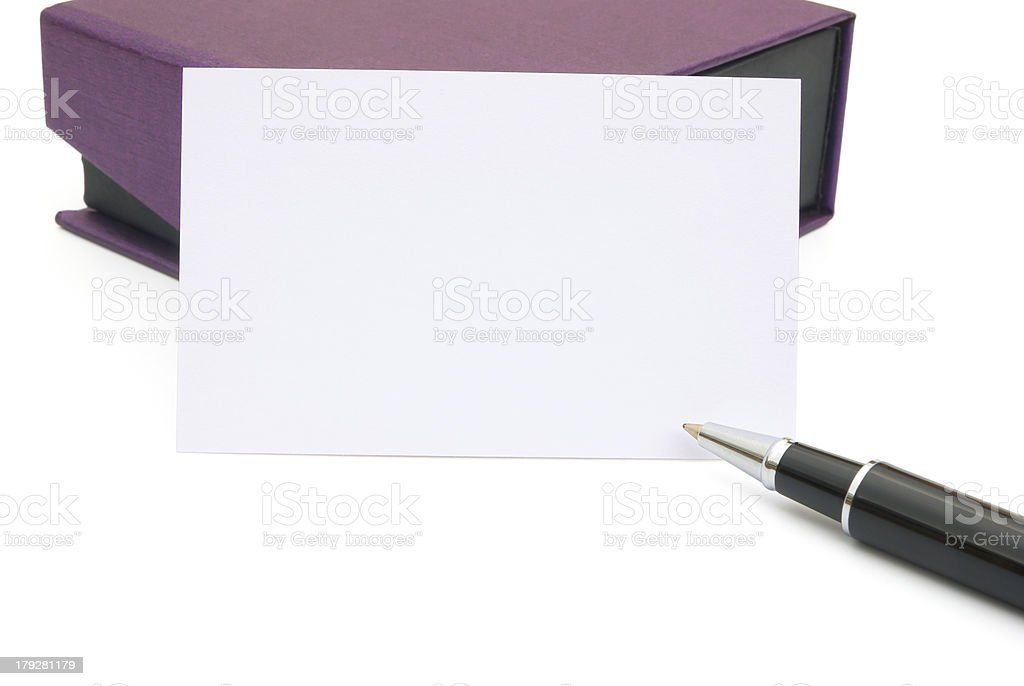 purple gift box and a card with clipping path royalty-free stock photo