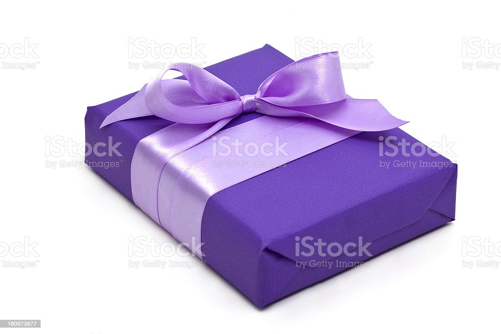 purple gift box with bow royalty-free stock photo