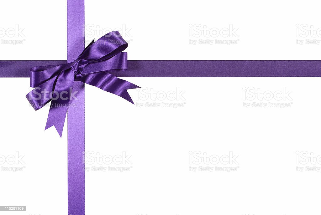 Purple gift ribbon and bow stock photo