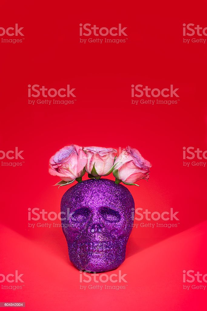Purple Glitter Skull with Pink Rose Headpiece on Red Background stock photo