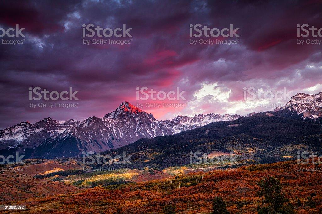 Purple Glow at Sunset stock photo