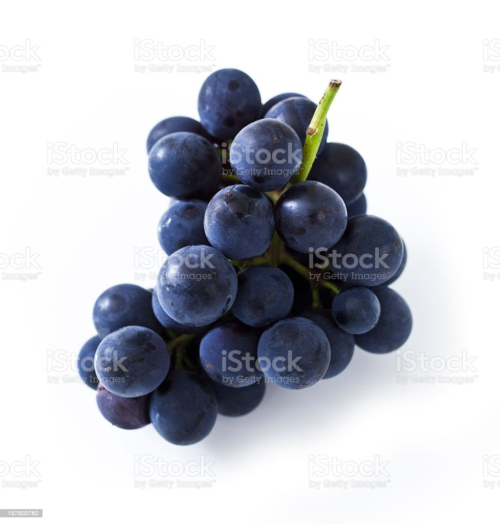 Purple grapes isolated on white background stock photo