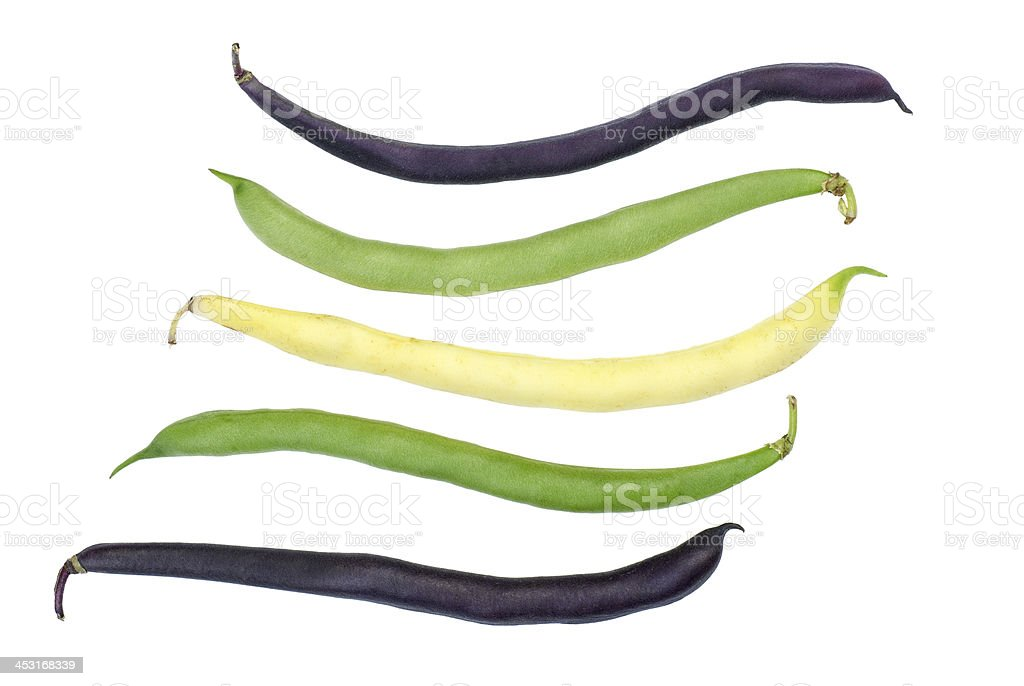 Purple, green and yellow Wax Snap Beans stock photo
