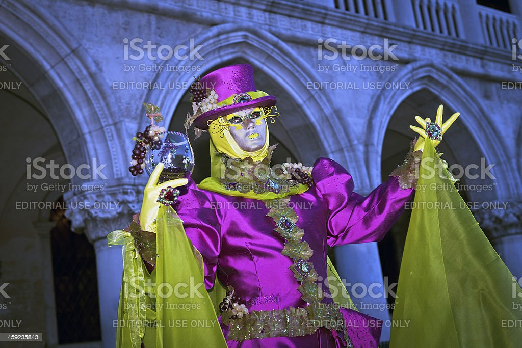 Purple - Green Grapes Mask in Venice Carnival 2013 Italy royalty-free stock photo