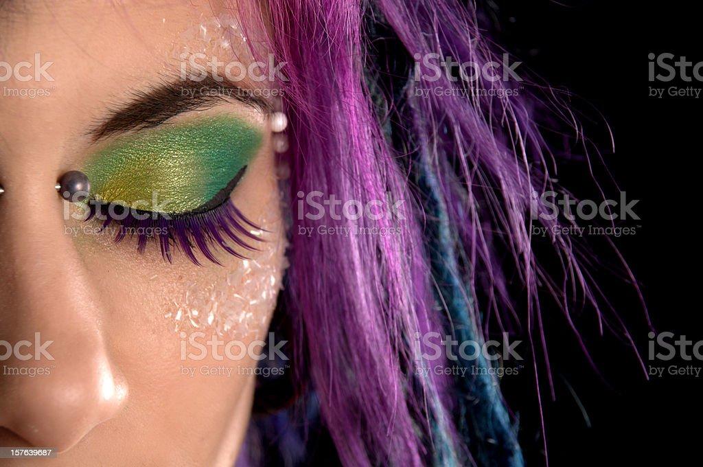Purple hair and sugar crystals. royalty-free stock photo