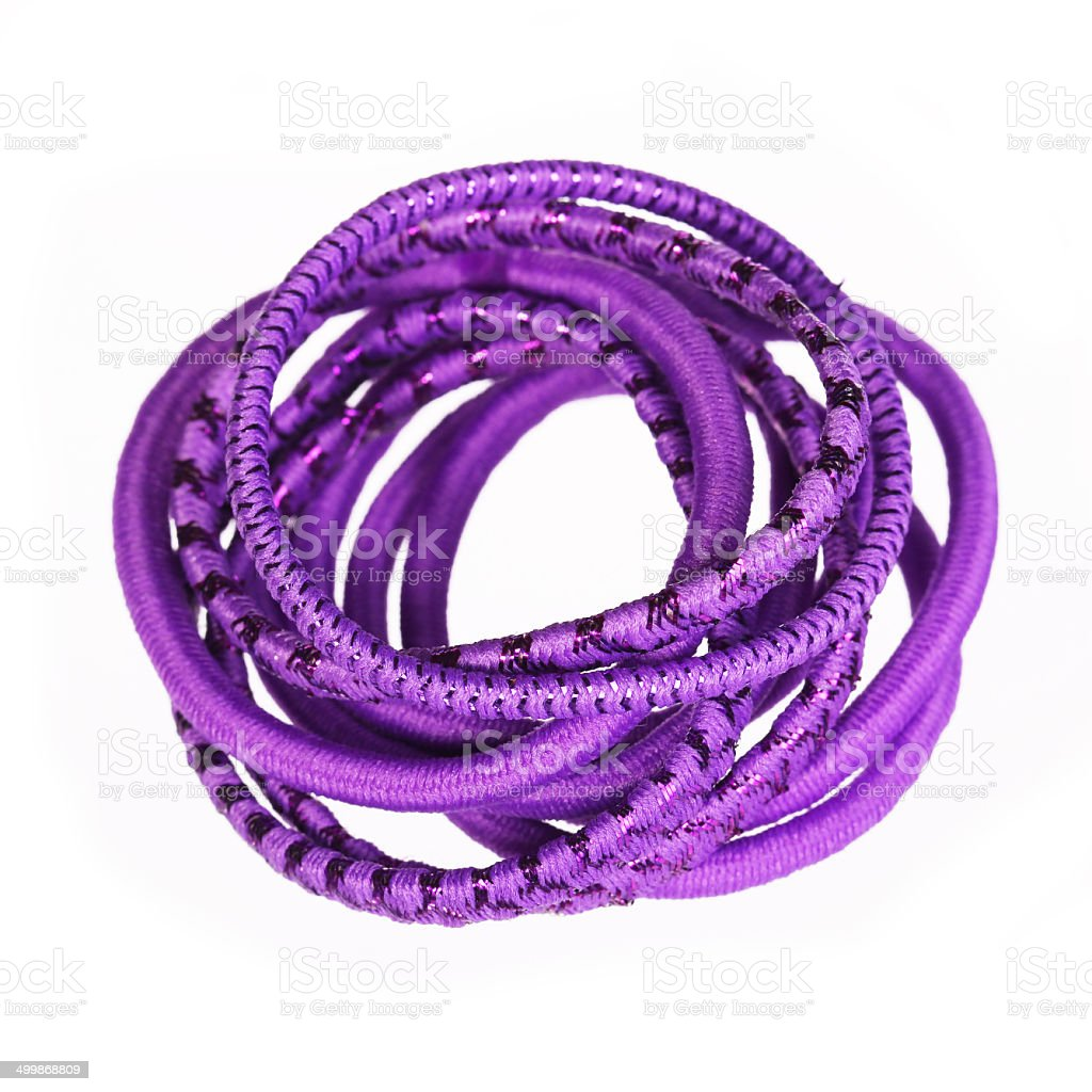 Purple hair bands isolated. stock photo