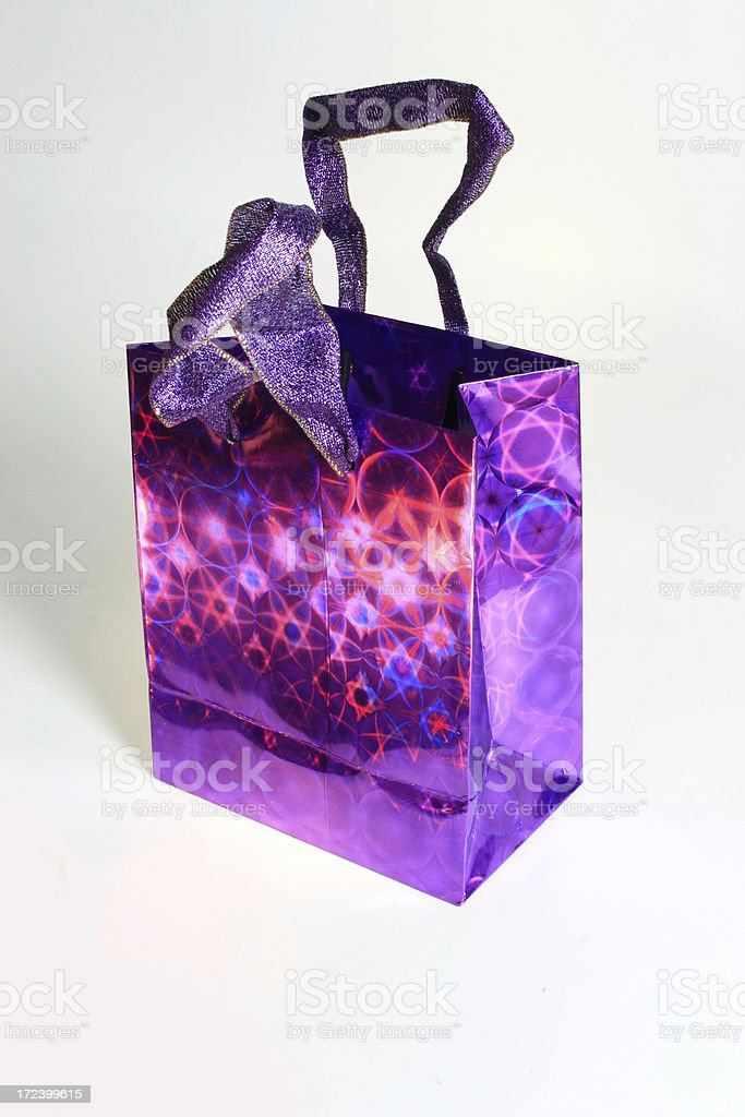 Purple Holographic Gift Bag royalty-free stock photo
