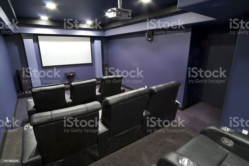 Purple home theater room royalty-free stock photo