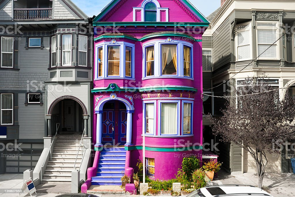 Purple house in San Francisco stock photo