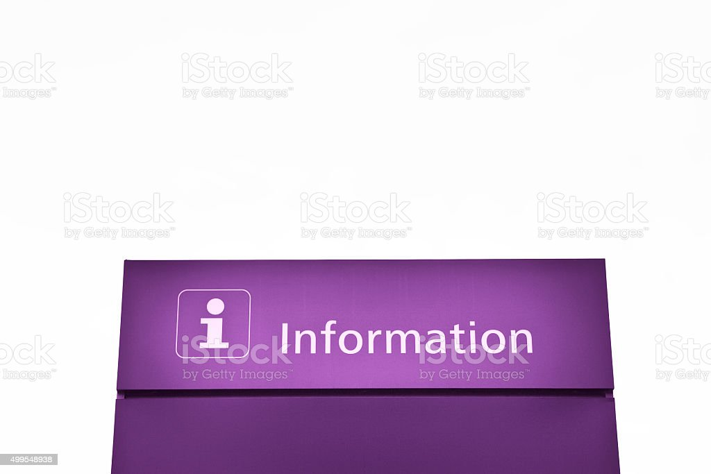 Purple information sign stock photo