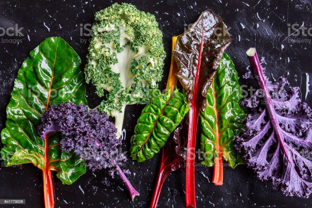 Purple Kale and swiss chard stock photo