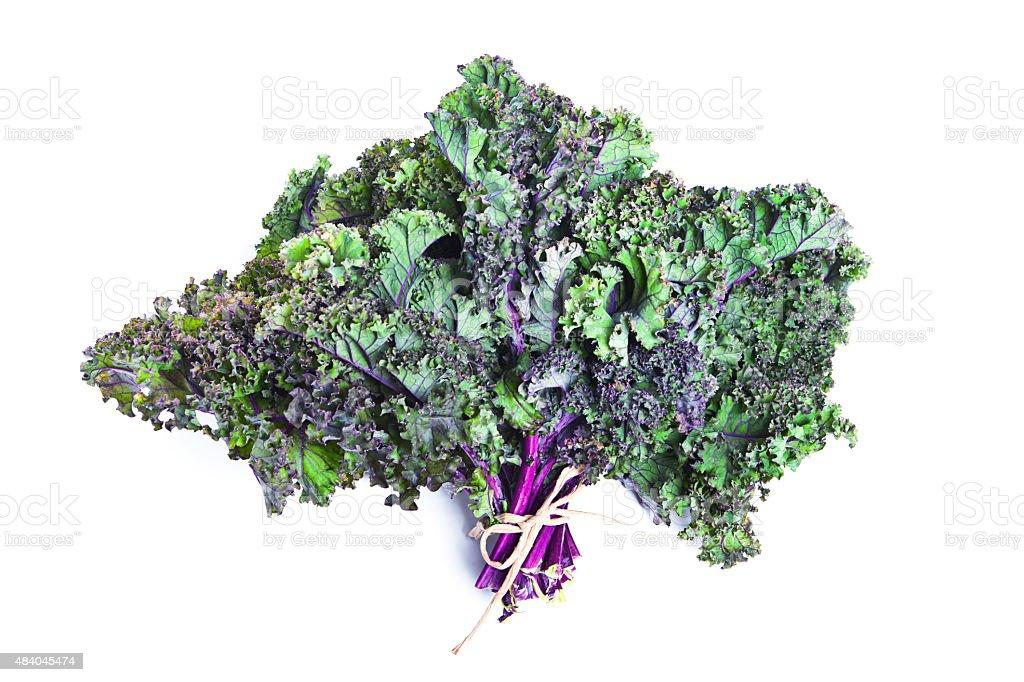 Purple Kale bundle on White Background stock photo