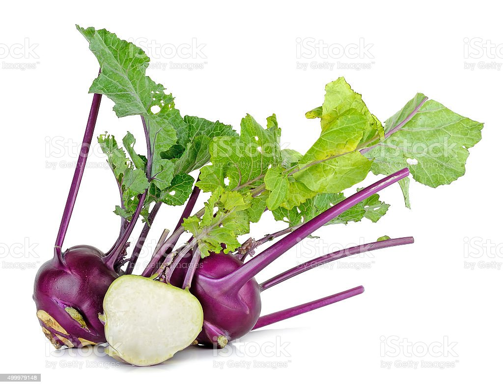 Purple kohlrabi isolated on the white  background stock photo
