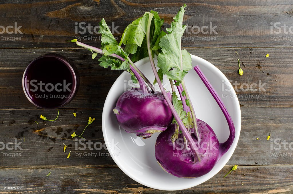 Purple kohlrabi stock photo