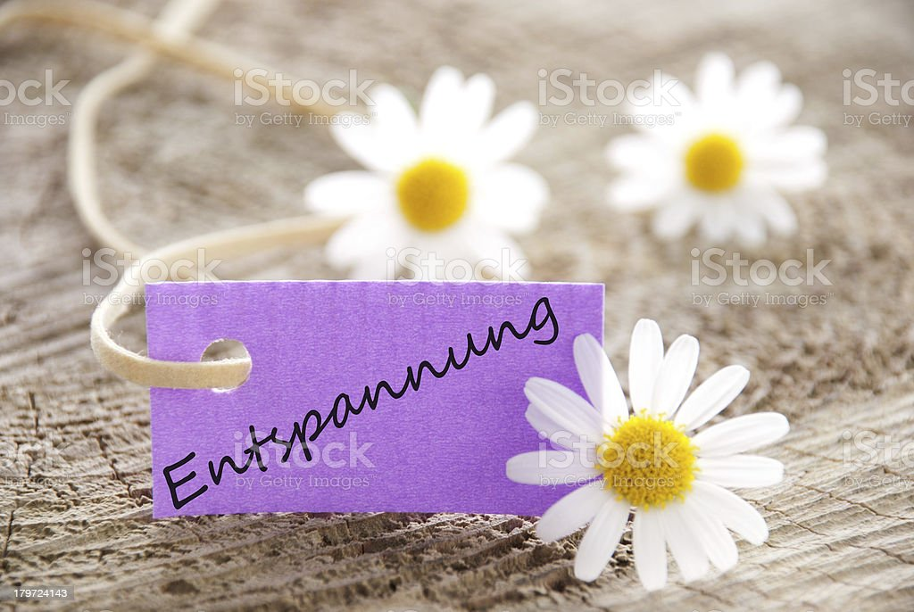 purple label with Entspannung royalty-free stock photo