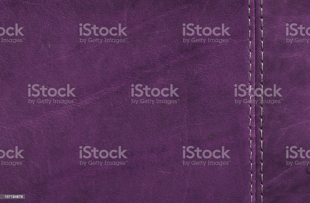 Purple  Leather Texture with Stitch Detail royalty-free stock photo