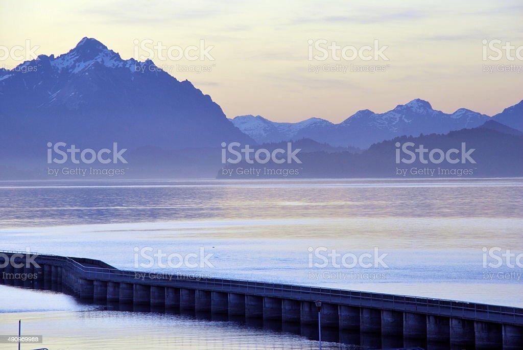 Purple Light above the Lake stock photo