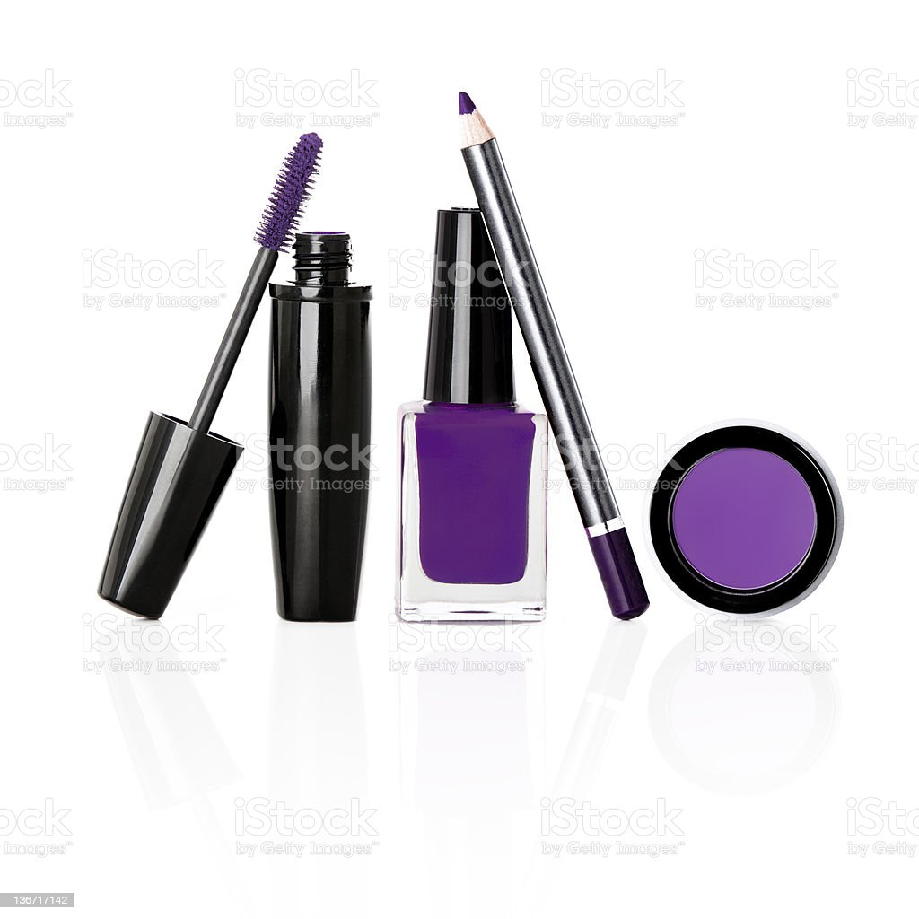 Purple Makeup on a White Background royalty-free stock photo