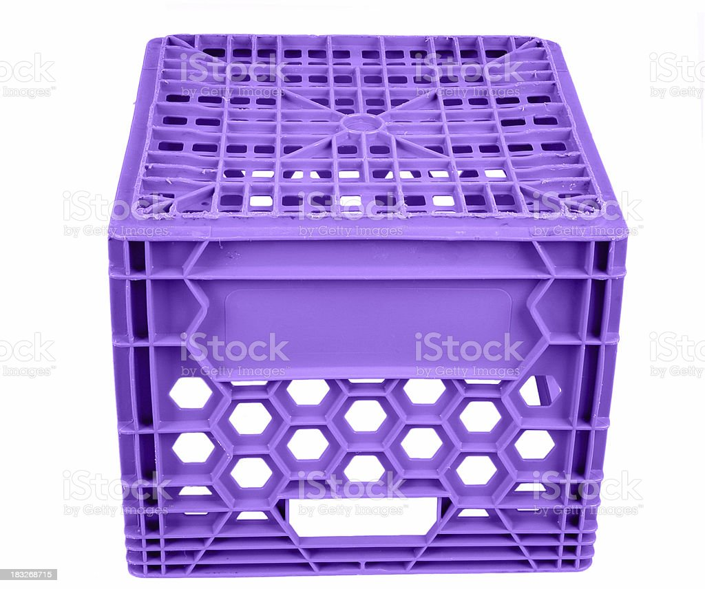 Purple Milk crate to sit on stock photo