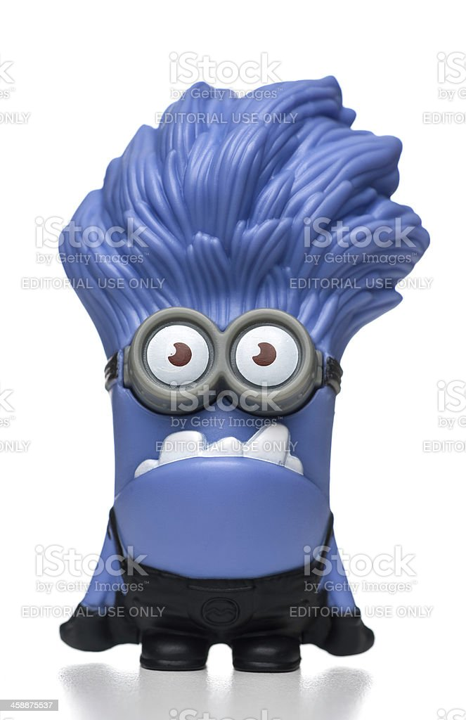 Purple Minion Giggling McDonalds happy meal toy stock photo