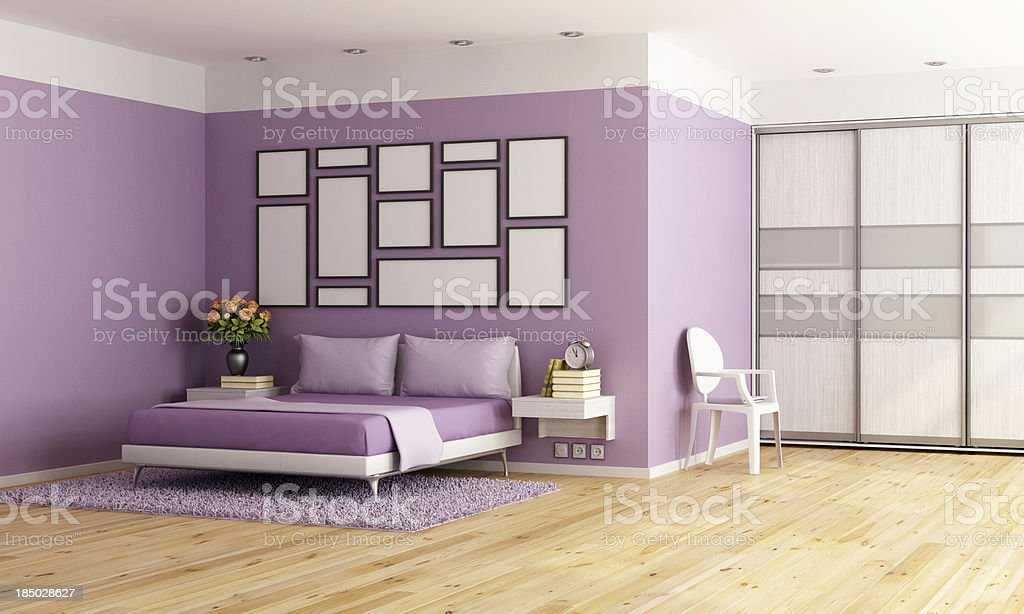 Purple modern bedroom royalty-free stock photo