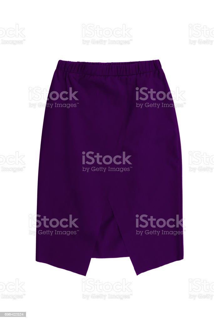 purple modern geometric pencil skirt with slit in the front, isolated on white background stock photo