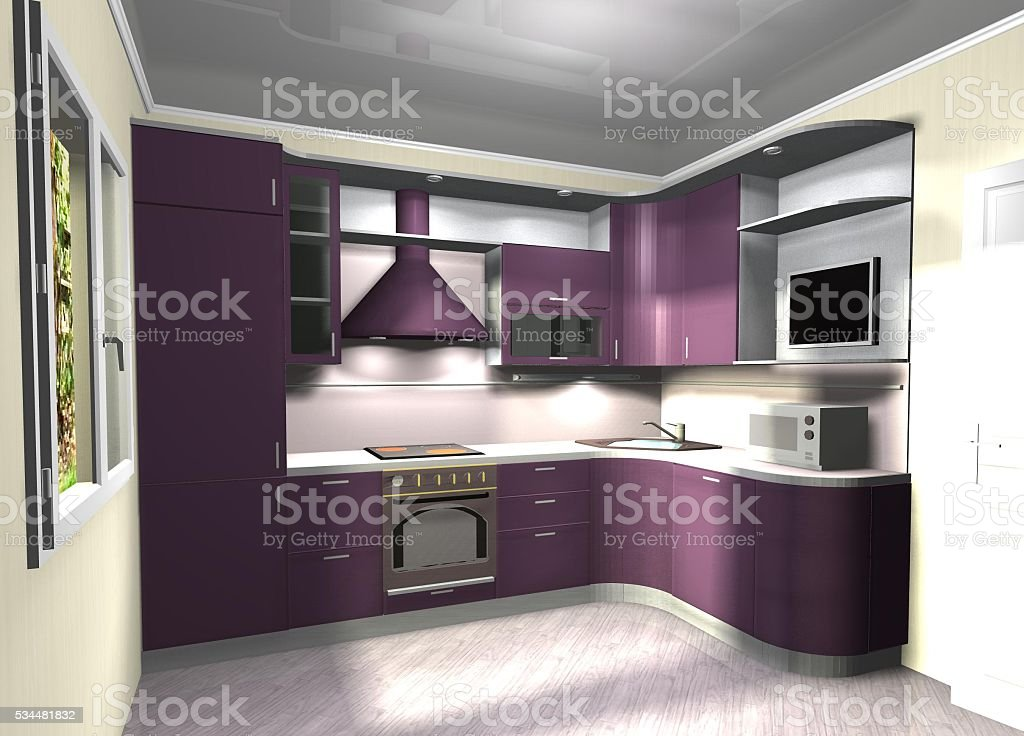 purple modern kitchen 3D rendering stock photo