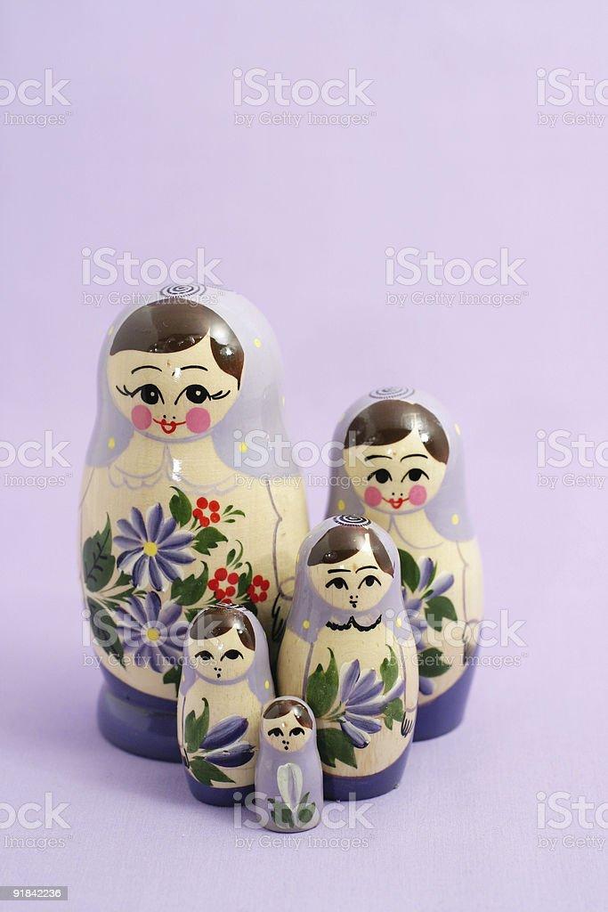 purple nesting dolls royalty-free stock photo