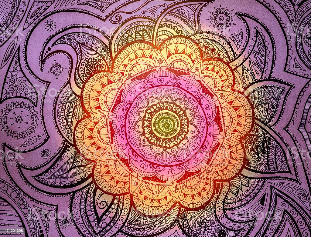 Purple orange pink Mandala stock photo