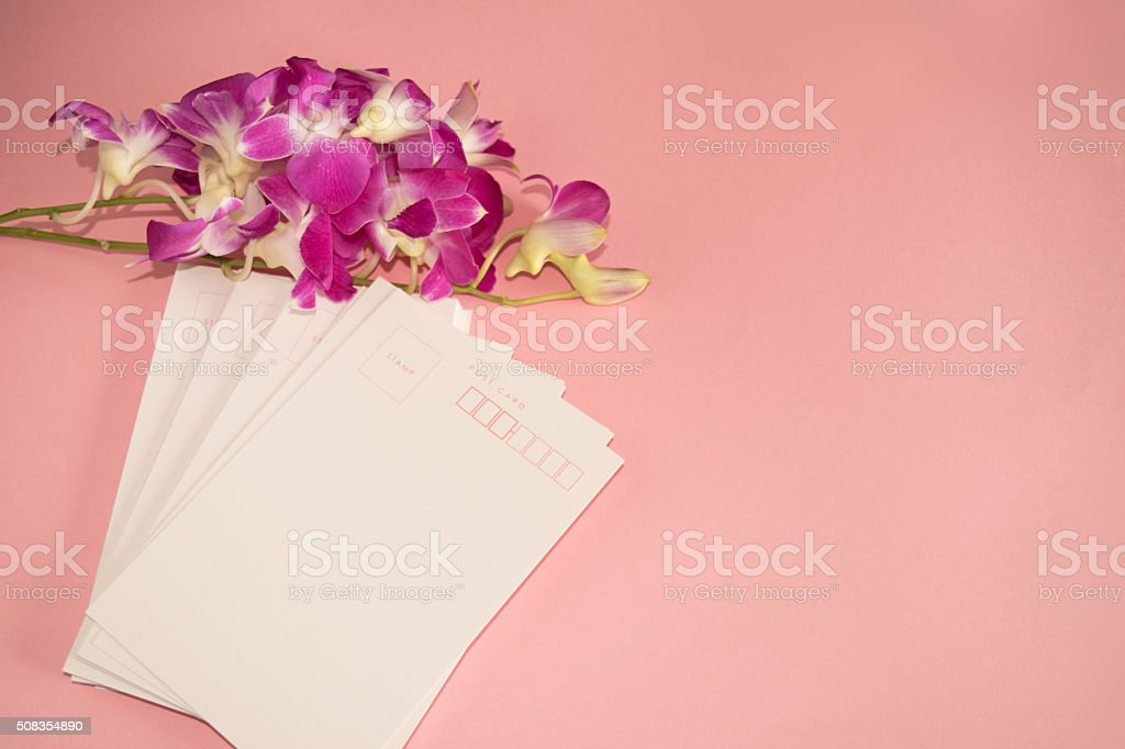Purple Orchid Dendrobium with postcard stock photo