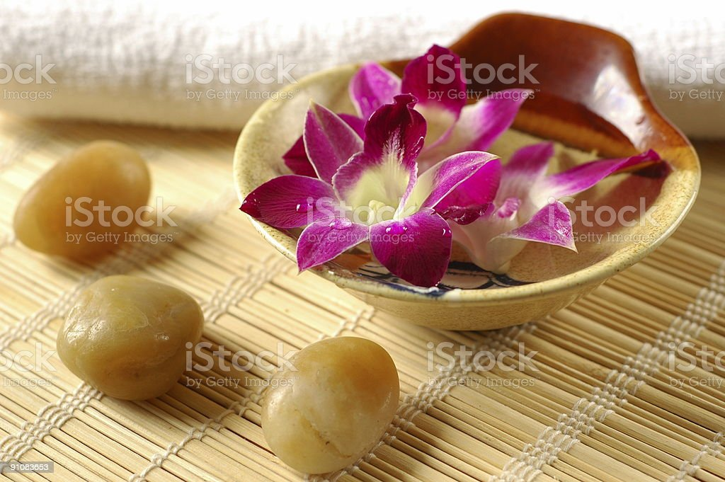 Purple orchid in a spa royalty-free stock photo