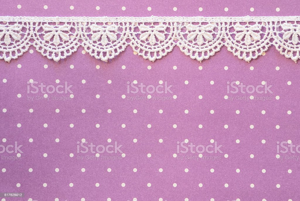 Purple Paper with White Lace Border stock photo