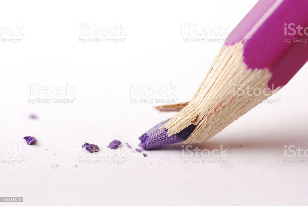 Purple pencil crayon with broken nib stock photo