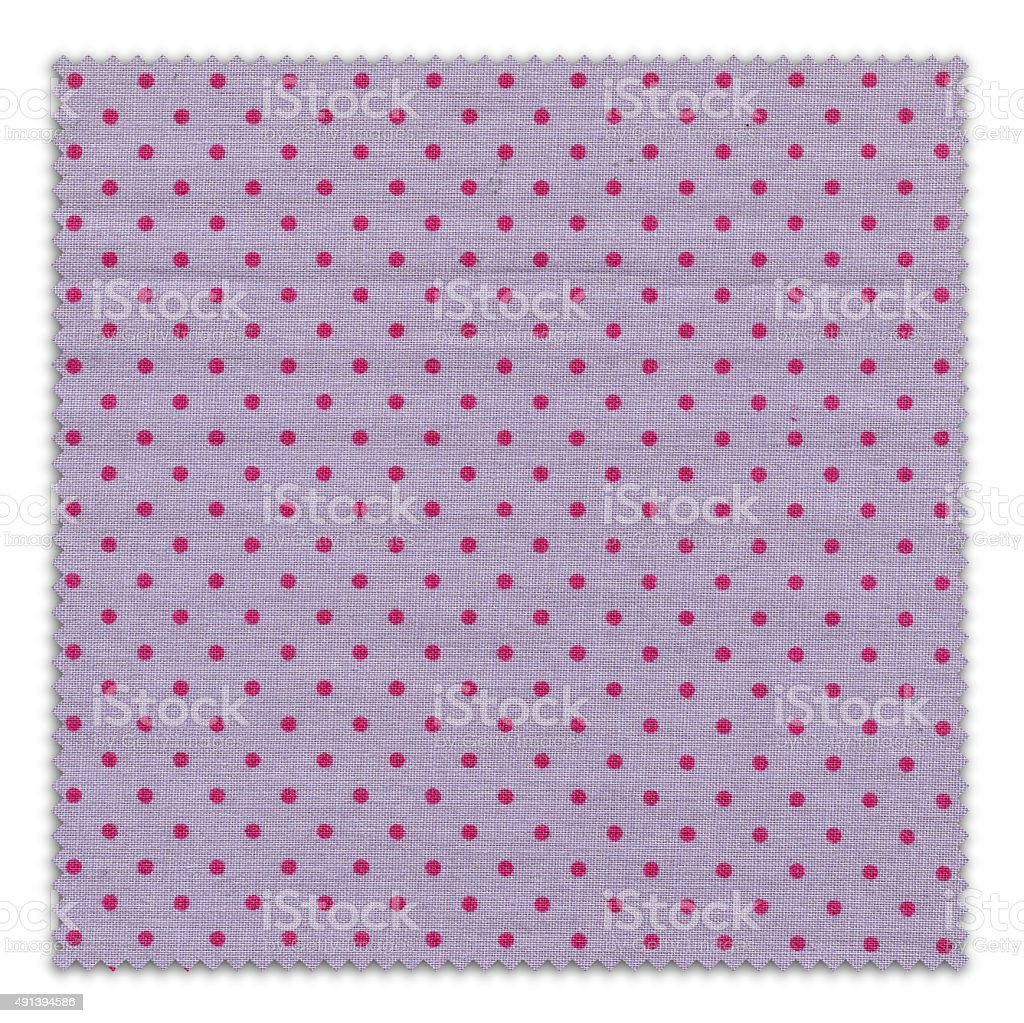 Purple Polka-Dot Fabric Swatch (Clipping Path) stock photo