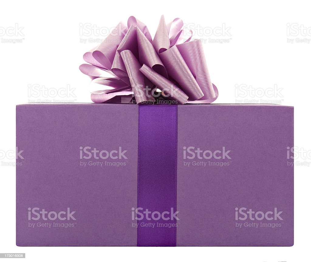 Purple present with a bow royalty-free stock photo