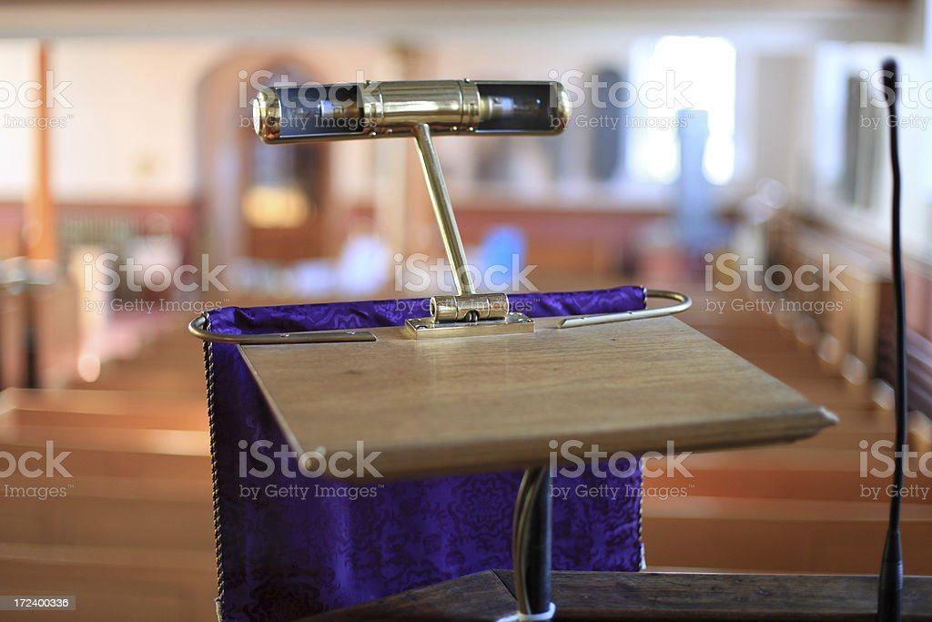 Purple Pulpit with Lamp stock photo