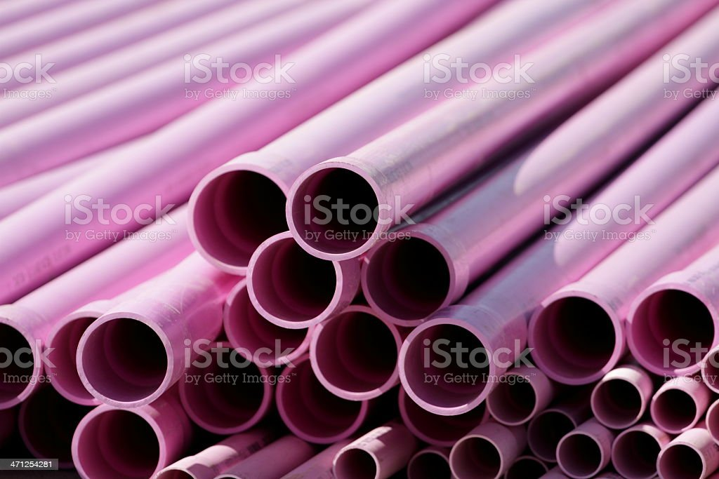 Purple Recycled Water Pipes royalty-free stock photo