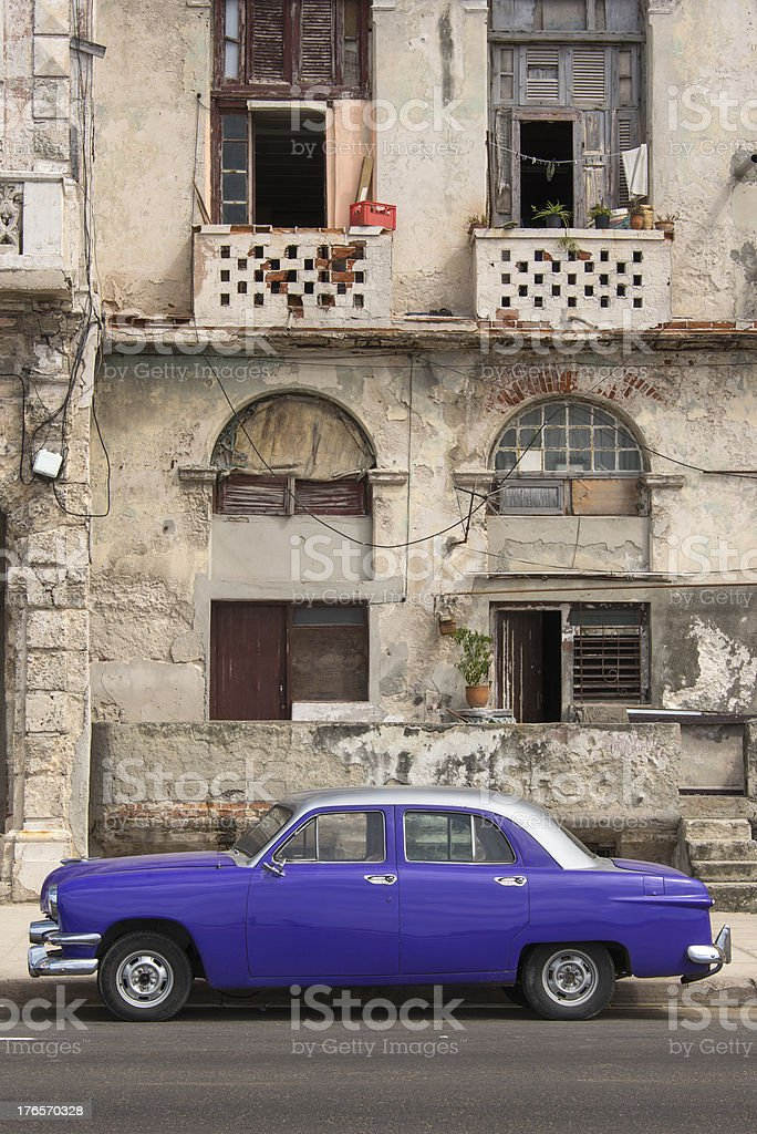 Purple Retro Car royalty-free stock photo