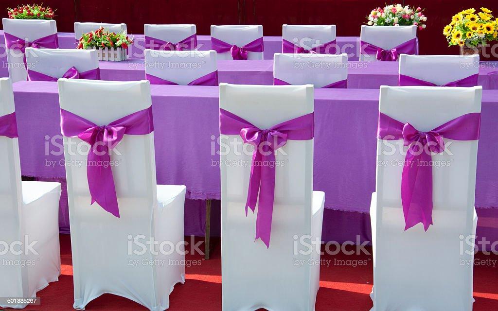 purple ribbon  chair stock photo