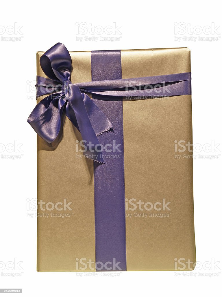 Purple ribbon tied golden box over white background royalty-free stock photo