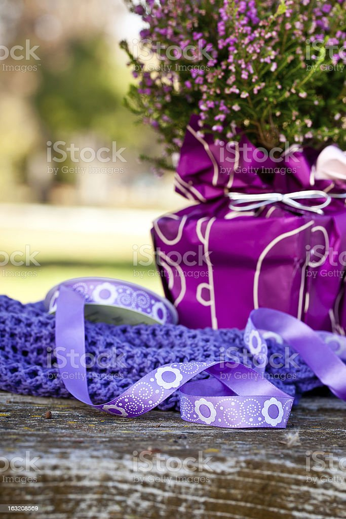 Purple Ribbon with Erica Heathers Flowers on wooden table royalty-free stock photo