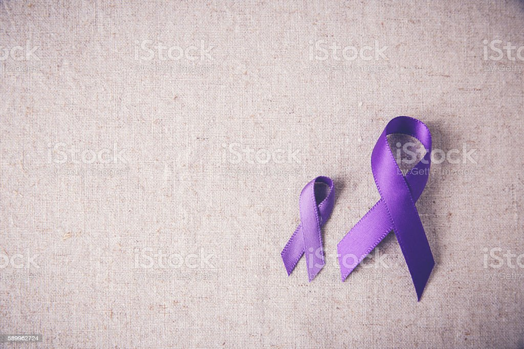 Purple ribbons toning copy space background, Alzheimer's disease stock photo